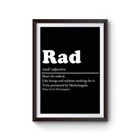 Definition Of Rad Poster | Poster, Definitions, Color