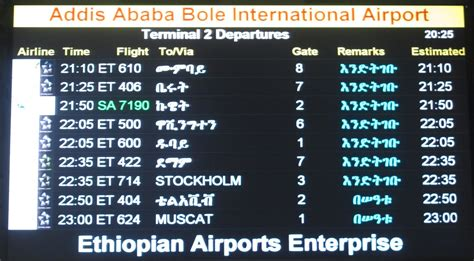 The Timetablist: Addis Ababa Bole Airport Departures 23