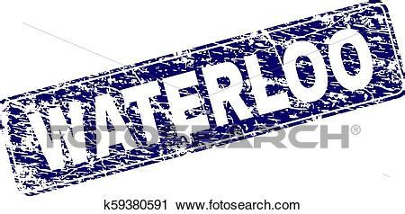 Scratched WATERLOO Framed Rounded Rectangle Stamp Clipart
