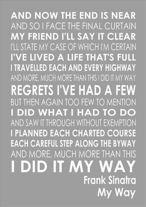 Details about Frank Sinatra - My Way - Word Typography
