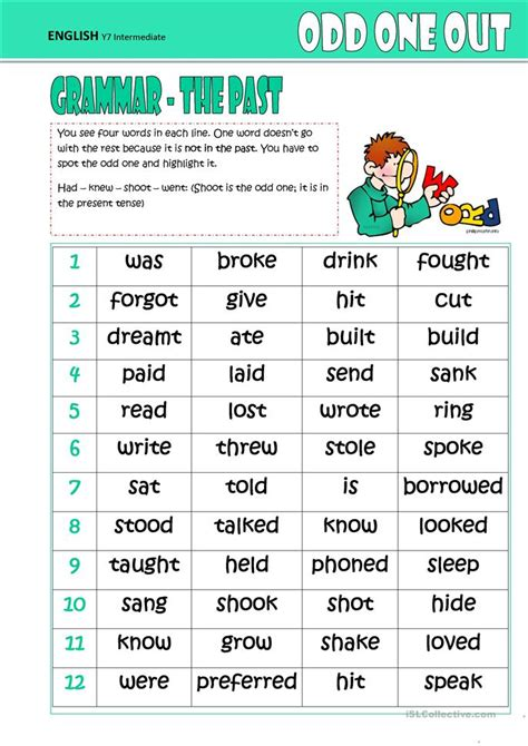 The Odd One Out (The Past) worksheet - Free ESL printable