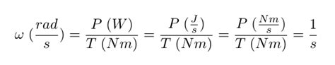 Why is (not) the resulting unit of this equation rad/s