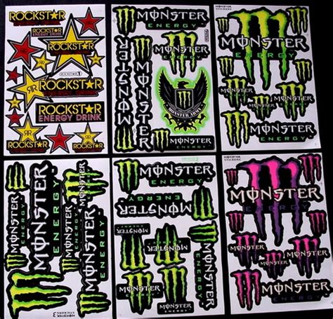 6 NEW Sheets stickers ! MONSTER ENERGY , ROCKSTAR ! - R/C